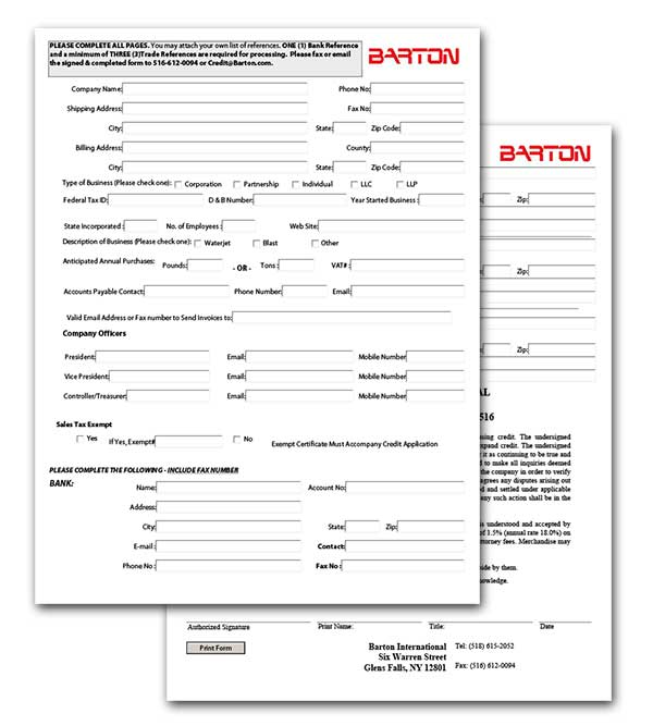 BARTON Credit Application